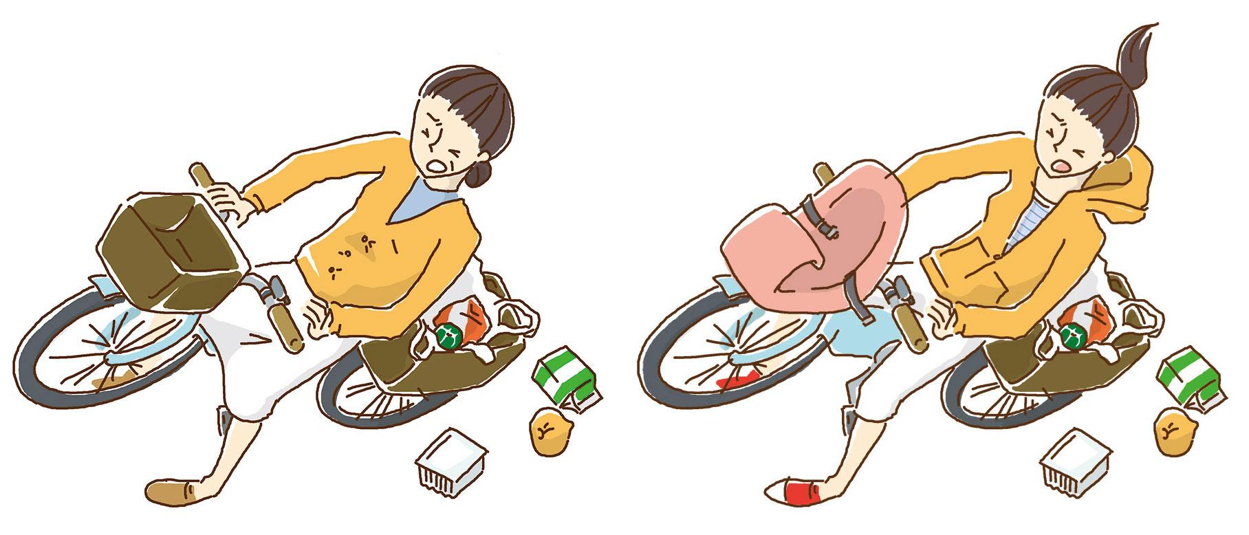 自転車で転ぶ女性2人